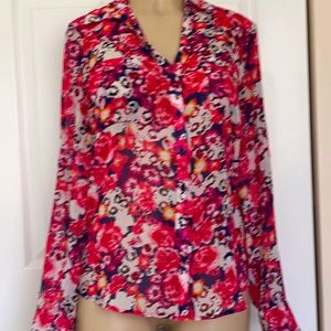 Express Vintage sheer floral button down shirt M